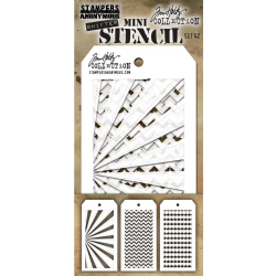 MTHS042 Stampers Anonymous Tim Holtz Layering Stencil - Mini Stencil Set #42